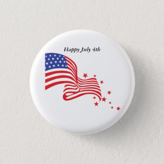 Happy July 4th American Flag with star 3 Cm Round Badge