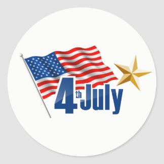 Happy July 4th American Flag with star Classic Round Sticker
