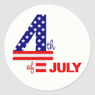 Happy July 4th American Flag with starIn Classic Round Sticker