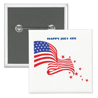 Happy July 4th American Flag with stars 15 Cm Square Badge