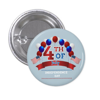 Happy July 4th balloons and American Flags 3 Cm Round Badge