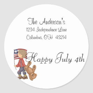 Happy July 4th Boy/Bear & Flag Address Labels