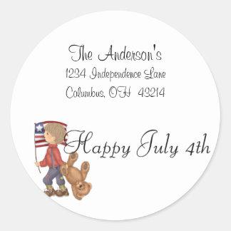 Happy July 4th Boy/Bear & Flag Address Labels Round Sticker