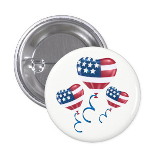 Happy July 4th heart balloons 3 Cm Round Badge