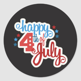 Happy July 4th text Classic Round Sticker