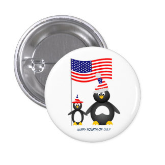 Happy July Fourth Penguins 3 Cm Round Badge
