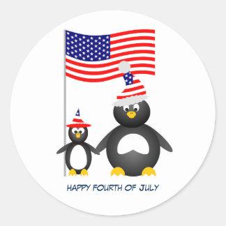 Happy July Fourth Penguins Round Sticker