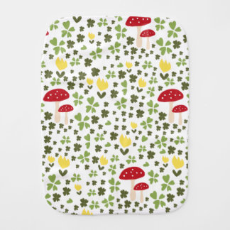 Happy jump meadow with flowers and lucky clovers burp cloth