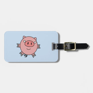 Happy Jumping Pig Luggage Tag