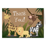 Happy Jungle Animals Thank You Card