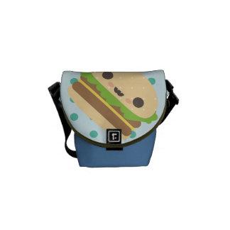 happy kawaii burger and dots commuter bag