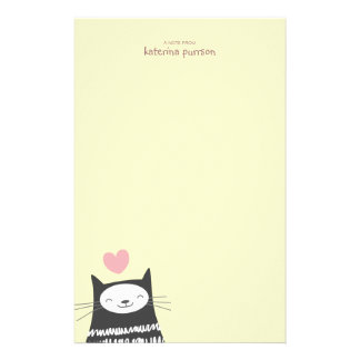 Happy Kawaii Cat Personalizable Note Paper Stationery