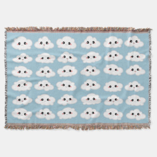 Happy Kawaii Cute and Smiling Clouds Throw Blanket