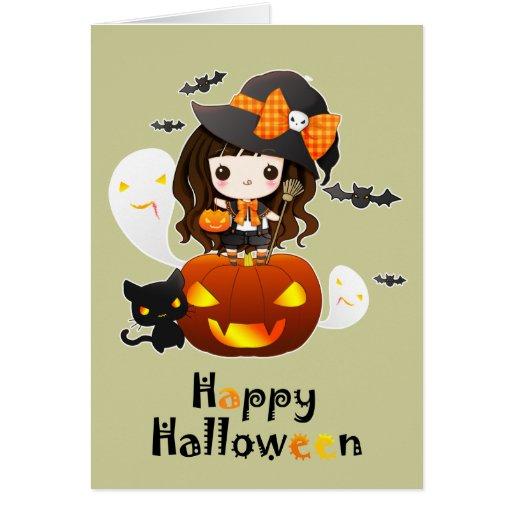 Happy Kawaii Halloween Card