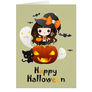 Happy Kawaii Halloween Greeting Card