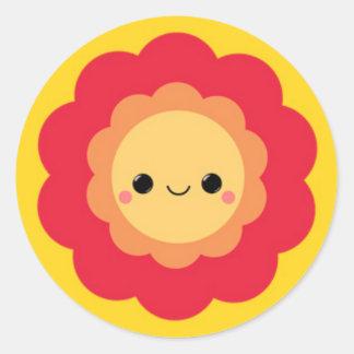 Happy Kawaii Layered Flower Round Sticker