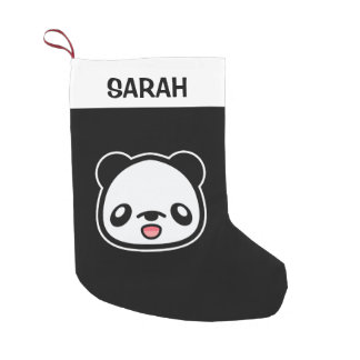 Happy Kawaii Panda With Custom Name Small Christmas Stocking