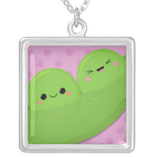Happy Kawaii Peas on Spotted Background Necklace