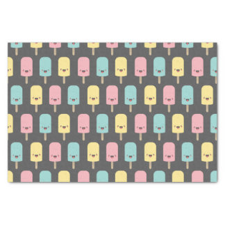 """Happy Kawaii Popsicle Ice Lolly Pattern 10"""" X 15"""" Tissue Paper"""