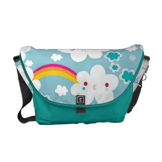happy kawaii rainbow and cloud sky pattern courier bag