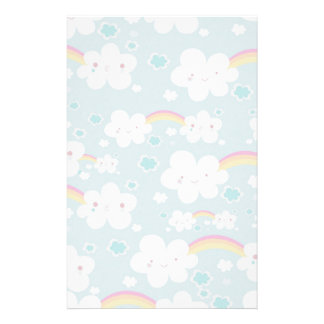 happy kawaii rainbow and cloud sky pattern stationery