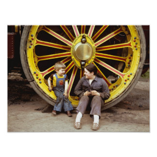 Happy kids on traction engine wheel print