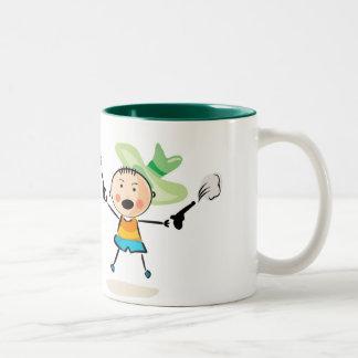 Happy kids playing Two-Tone coffee mug