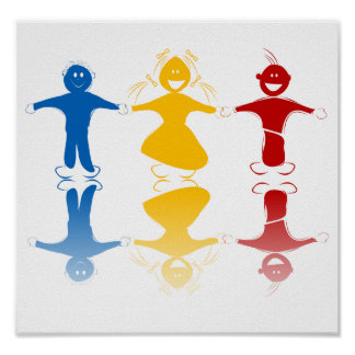 Happy Kids Silhouettes Poster