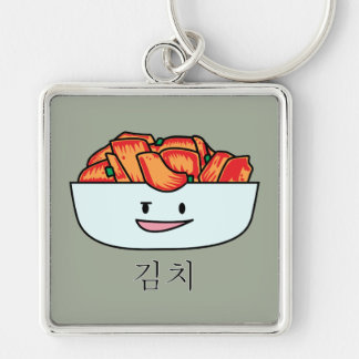 Happy Kimchi Kimchee Bowl - Happy Foods Designs Silver-Colored Square Key Ring