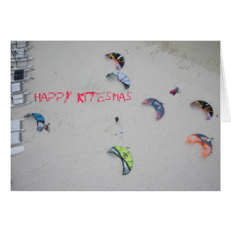 """Happy Kitesmas"" kiteboard kitesurf christmas card"