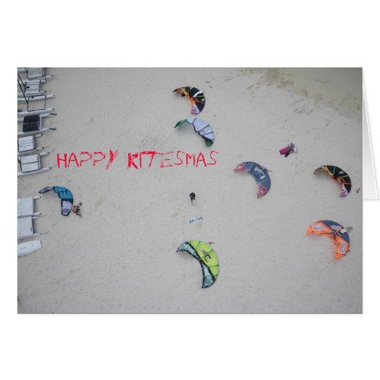 """""""Happy Kitesmas"""" kiteboard kitesurf christmas card"""
