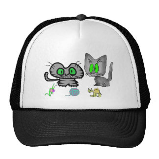 Happy Kitties Show Off There Fun Toys Mesh Hats