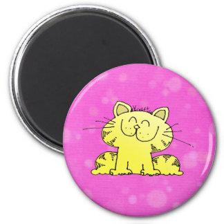 Happy Kitty 6 Cm Round Magnet