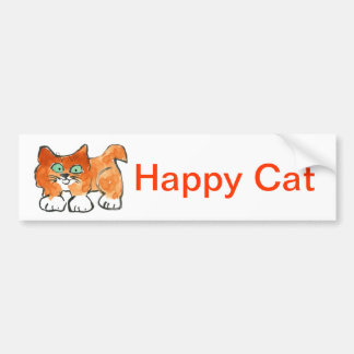 Happy Kitty Out for a Walk Bumper Sticker