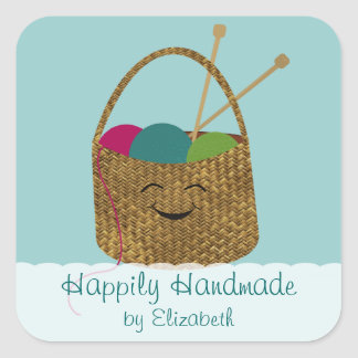 Happy Knitter's Basket Personalized Stickers