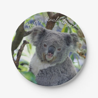 Happy Koaladays cute koala Christmas paper plates