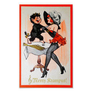 Happy Krampus and Temptress Vintage Christmas Mini Poster
