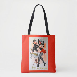 Happy Krampus and Temptress Vintage Christmas Tote Bag