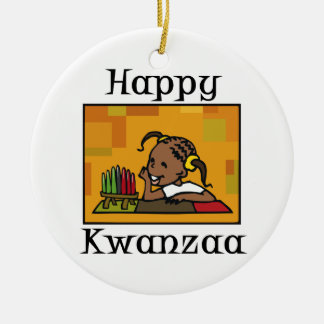 Happy Kwanzaa Girl Kinara Round Ceramic Decoration