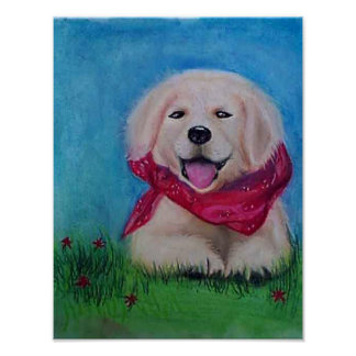 Happy Lab Puppy - Pastel Drawaing Poster