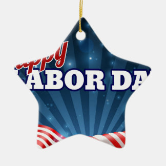 Happy Labor Day American Flag Poster Ceramic Star Decoration