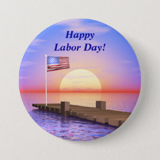 Happy Labor Day US Flag and Dock 7.5 Cm Round Badge