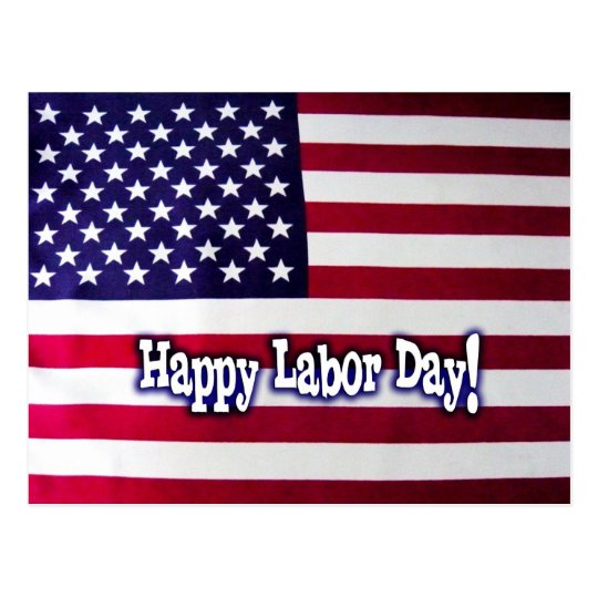 Happy Labour Day American Flag Postcard