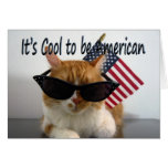Happy Labour Day Cool Cat with Flag Greeting Card