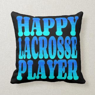 Happy Lacrosse Player Throw Pillow
