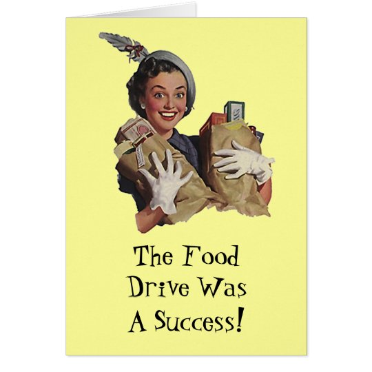 Happy Lady Food Drive Groceries Thank You Cards