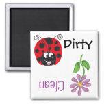 Happy Ladybug & Flower - Dishwash Magnet Fridge Magnet
