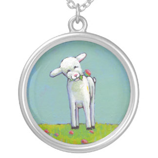 Happy lamb adorable artoriginal whimsical painting custom jewelry