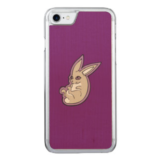 Happy Lavender Rabbit Pink Eyes Ink Drawing Design Carved iPhone 7 Case