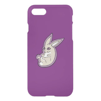 Happy Lavender Rabbit Pink Eyes Ink Drawing Design iPhone 7 Case